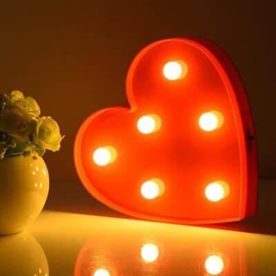 Oświetlenie na Walentynki, lampa czerwona led serce Maliki