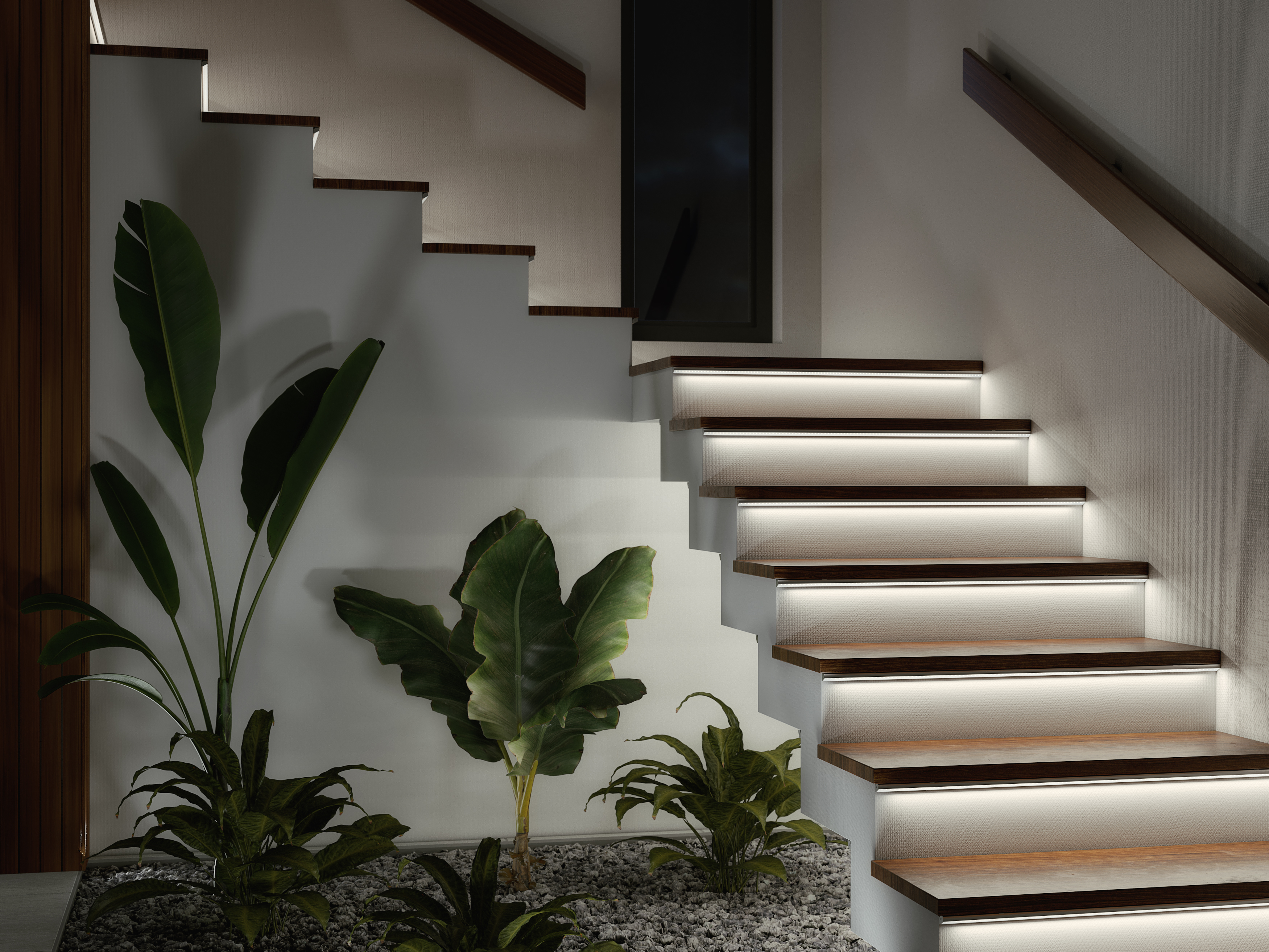 Efektowne oświetlenie schodów - oczka czy taśmy LED w profilu LED
