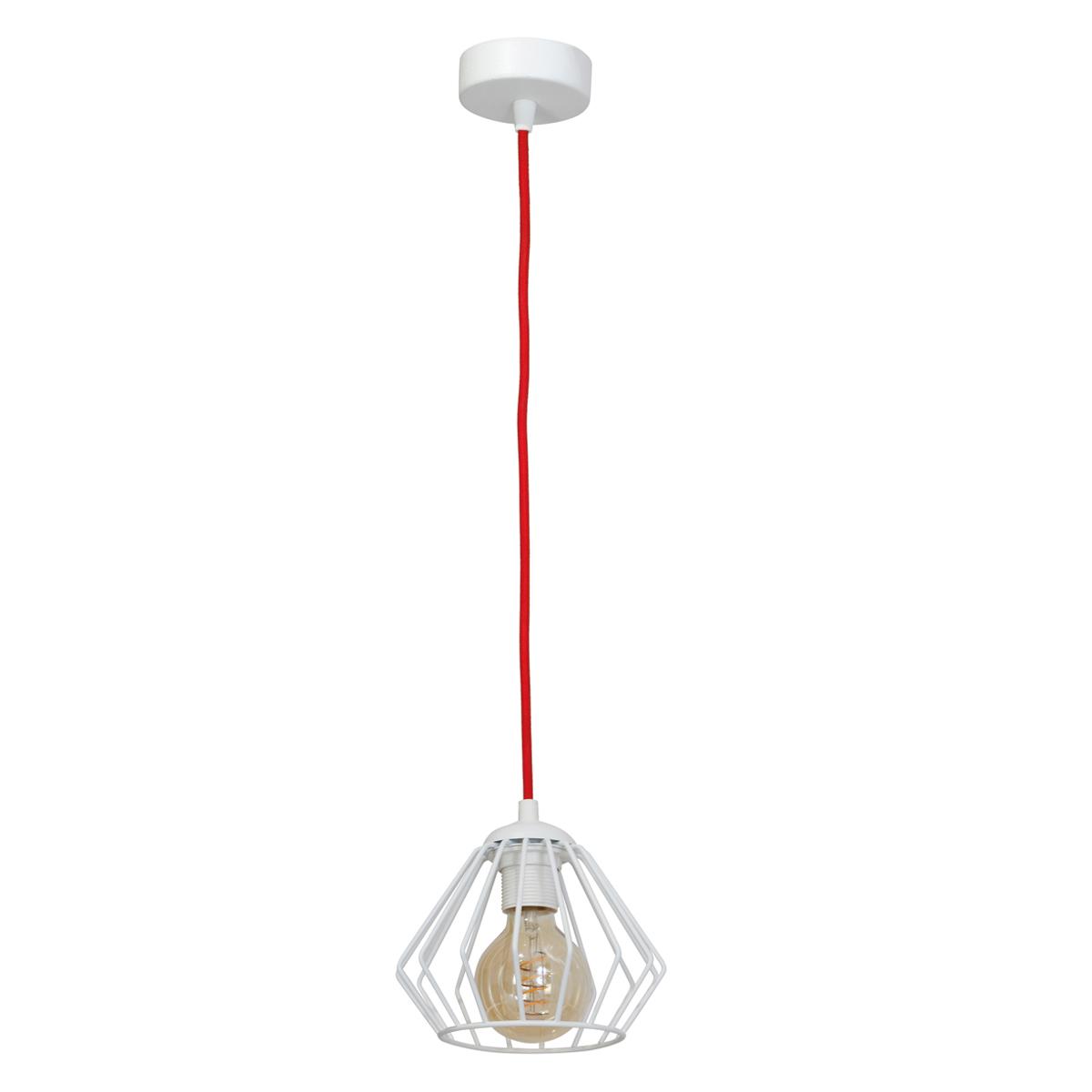 klosz biały ( kabel w czerwonymi oplocie )