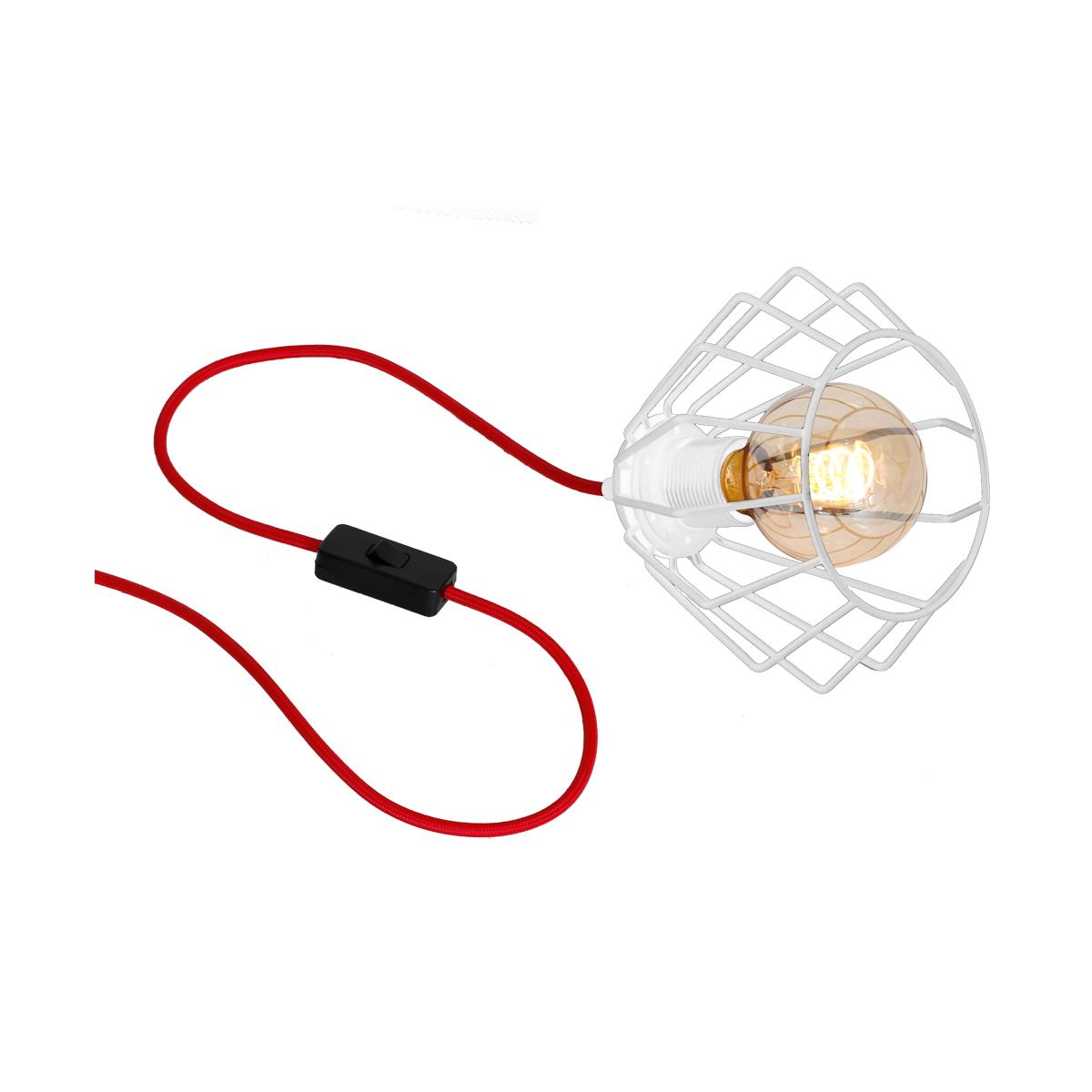klosz biały ( kabel w czerwonym oplocie )