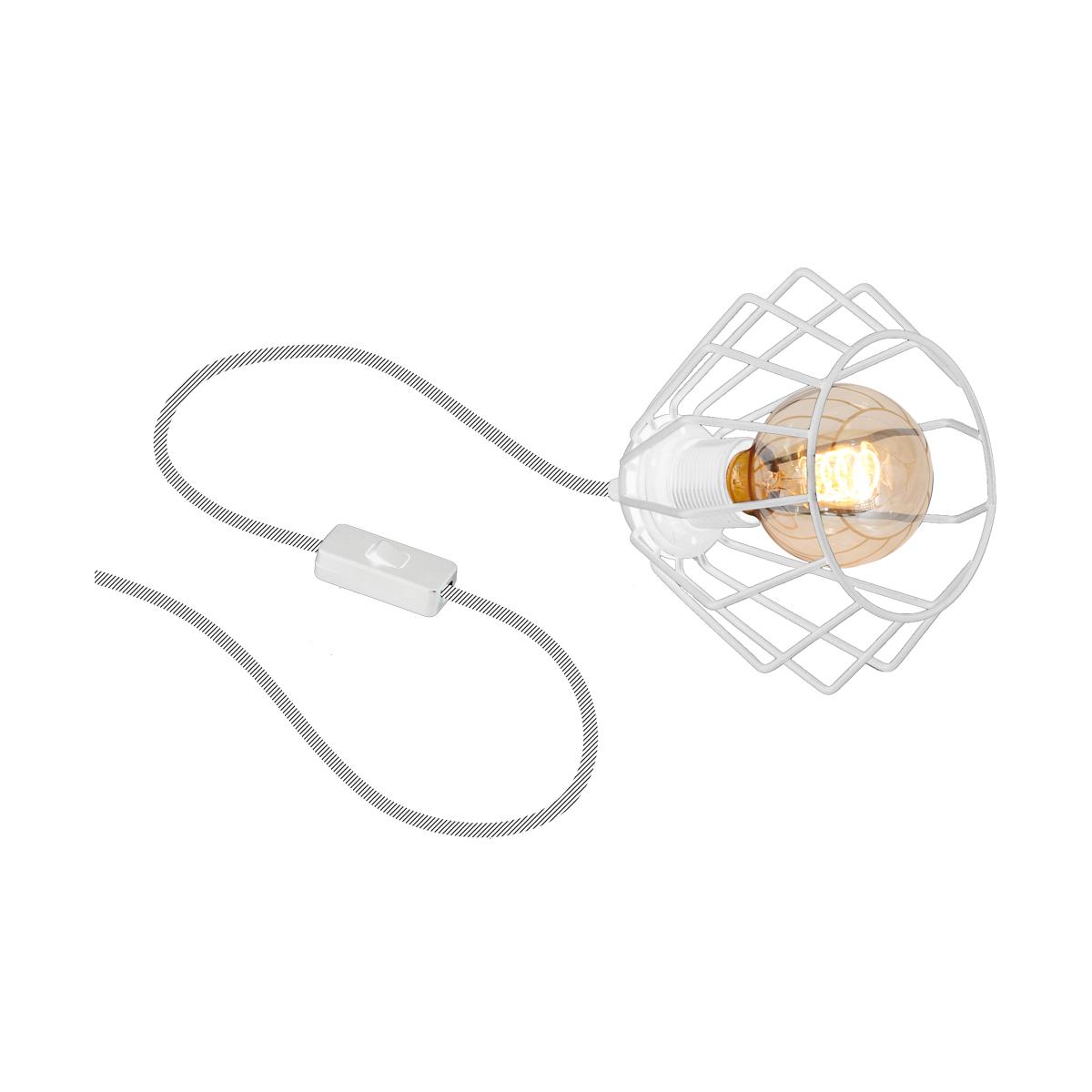 klosz biały ( kabel w białym oplocie )
