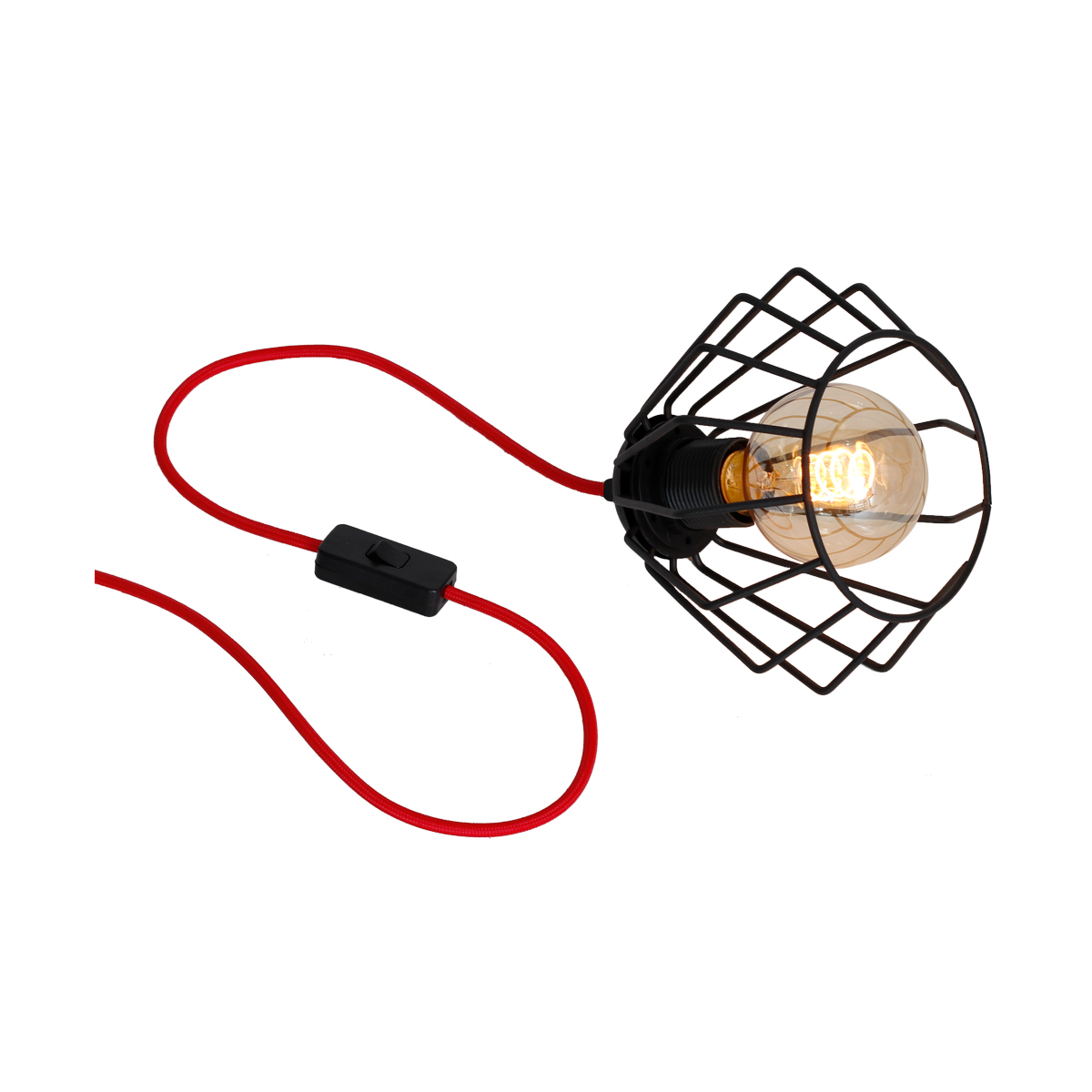 klosz czarny ( kabel w czerwonym oplocie )
