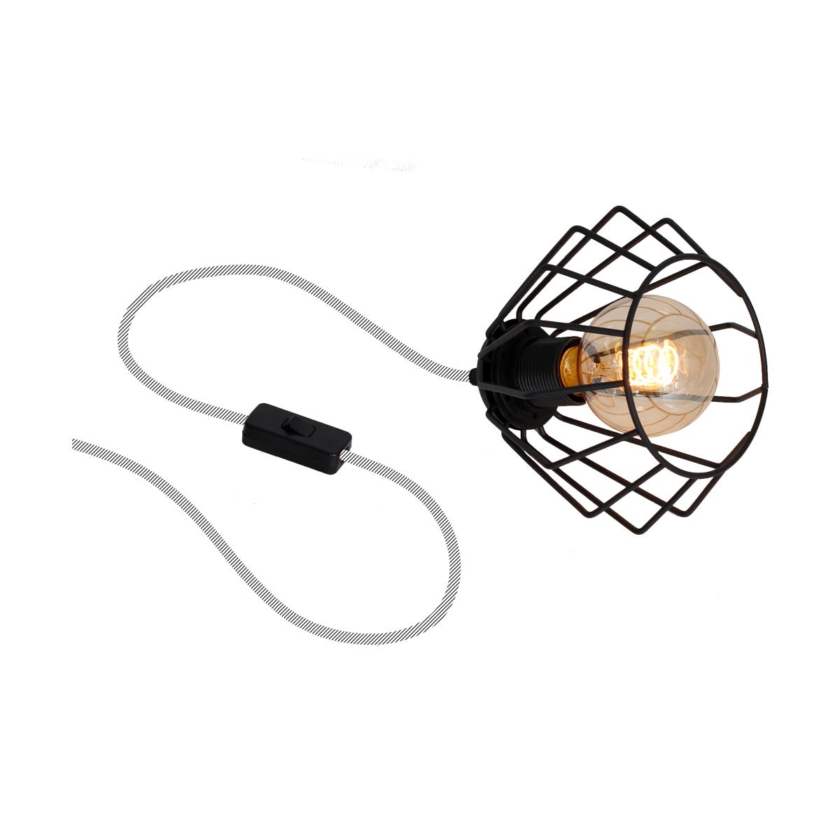 klosz czarny ( kabel w szarym oplocie )