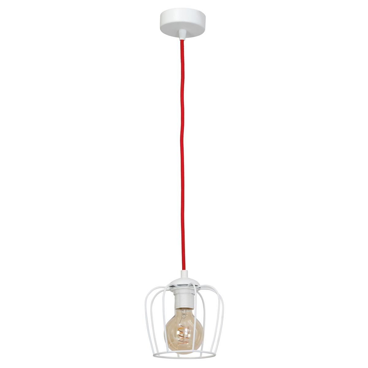 klosz matowy biały(kabel w czerwonym oplocie)