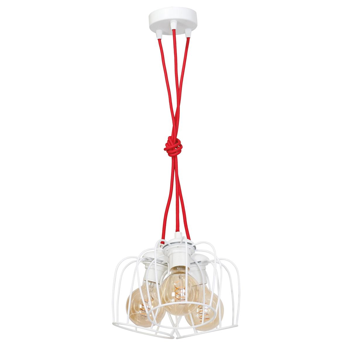 klosz matowy biały (kabel w czerwonym oplocie)